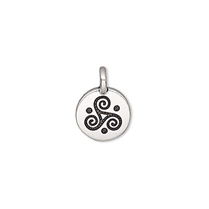 charm, tierracast, antique silver-plated pewter (tin-based alloy), 12mm single-sided round with triskele. sold individually.