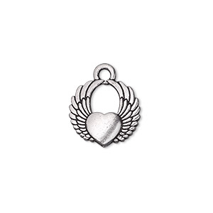 charm, tierracast, antique silver-plated pewter (tin-based alloy), 15x14mm double-sided winged heart. sold per pkg of 2.
