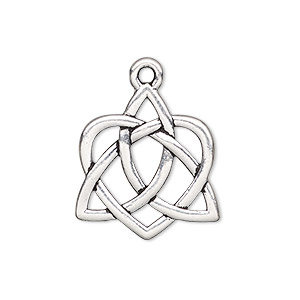 charm, tierracast, antique silver-plated pewter (zinc-based alloy), 23x21mm double-sided celtic heart with cutout design. sold individually.
