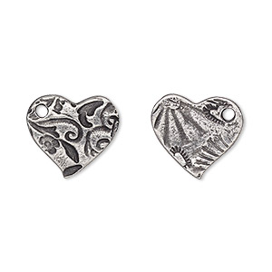 charm, tierracast, antiqued pewter (tin-based alloy), 15mm two-sided heart with amor design. sold per pkg of 2.