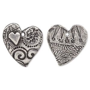 charm, tierracast, antiqued pewter (tin-based alloy), 24x23mm two-sided heart with amor design. sold individually.