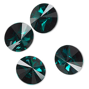 chaton, celestial crystal rhinestone, emerald green, foil back, 16mm faceted rivoli. sold per pkg of 4.
