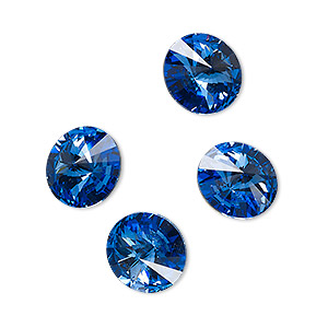 chaton, celestial crystal rhinestone, sapphire blue, foil back, 12mm faceted rivoli. sold per pkg of 4.