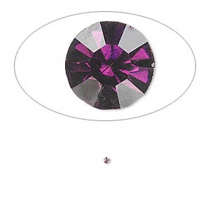 chaton, glass rhinestone, amethyst purple, foil back, 1.3-1.35mm faceted round, pp6. sold per pkg of 72.