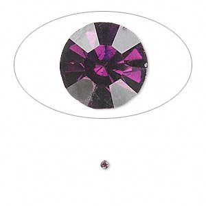 chaton, glass rhinestone, amethyst purple, foil back, 1.7-1.8mm faceted round, pp11. sold per pkg of 72.