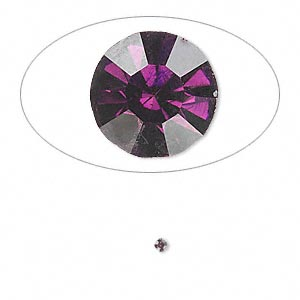 chaton, glass rhinestone, amethyst purple, foil back, 1.8-1.9mm faceted round, pp12. sold per pkg of 72.