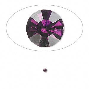 chaton, glass rhinestone, amethyst purple, foil back, 1.9-2.0mm faceted round, pp13. sold per pkg of 72.