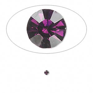 chaton, glass rhinestone, amethyst purple, foil back, 2.0-2.1mm faceted round, pp14. sold per pkg of 72.