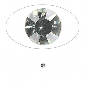 chaton, glass rhinestone, black diamond, foil back, 2.1-2.2mm faceted round, pp15. sold per pkg of 72.
