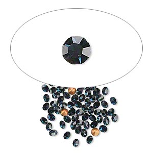 chaton, glass rhinestone, capri blue, foil back, 2.4-2.5mm faceted round, pp18. sold per pkg of 72.