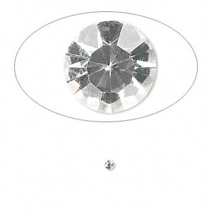 chaton, glass rhinestone, crystal clear, foil back, 1.9-2.0mm faceted round, pp13. sold per pkg of 72.