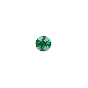 chaton, glass rhinestone, emerald green, foil back, 7.93-8.16mm faceted round, ss38. sold per pkg of 12.