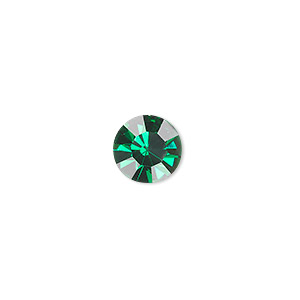 chaton, glass rhinestone, emerald green, foil back, 9.9-10.2mm faceted round, ss45. sold per pkg of 4.