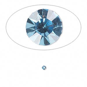 chaton, glass rhinestone, light sapphire blue, foil back, 2.0-2.1mm faceted round, pp14. sold per pkg of 72.