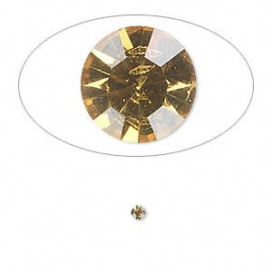 chaton, glass rhinestone, light topaz, foil back, 2.2-2.3mm faceted round, pp16. sold per pkg of 72.