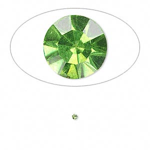 chaton, glass rhinestone, olivine, foil back, 1.4-1.5mm faceted round, pp8. sold per pkg of 72.