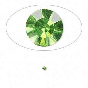 chaton, glass rhinestone, olivine, foil back, 1.9-2.0mm faceted round, pp13. sold per pkg of 72.