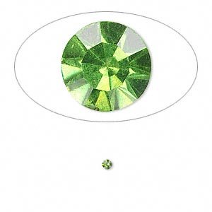 chaton, glass rhinestone, olivine, foil back, 2.0-2.1mm faceted round, pp14. sold per pkg of 72.