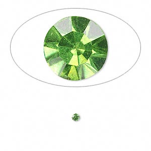chaton, glass rhinestone, olivine, foil back, 2.2-2.3mm faceted round, pp16. sold per pkg of 72.