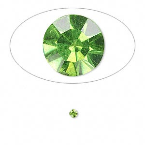 chaton, glass rhinestone, olivine, foil back, 2.4-2.5mm faceted round, pp18. sold per pkg of 72.