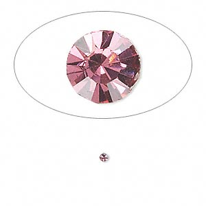 chaton, glass rhinestone, rose, foil back, 1.7-1.8mm faceted round, pp11. sold per pkg of 72.