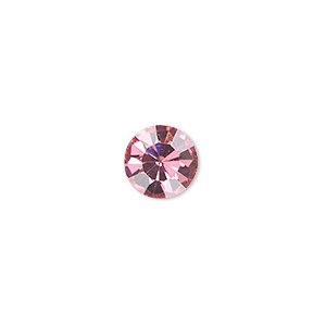 chaton, glass rhinestone, rose, foil back, 9.9-10.2mm faceted round, ss45. sold per pkg of 4.