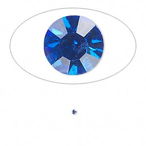 chaton, glass rhinestone, sapphire blue, foil back, 1.3-1.35mm faceted round, pp6. sold per pkg of 72.