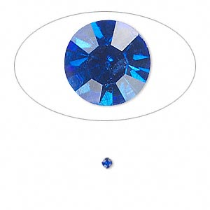 chaton, glass rhinestone, sapphire blue, foil back, 2.1-2.2mm faceted round, pp15. sold per pkg of 72.