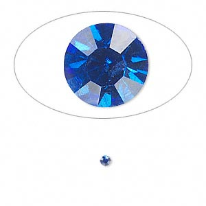 chaton, glass rhinestone, sapphire blue, foil back, 2.2-2.3mm faceted round, pp16. sold per pkg of 72.