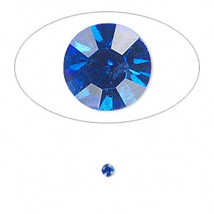 chaton, glass rhinestone, sapphire blue, foil back, 2.4-2.5mm faceted round, pp18. sold per pkg of 72.
