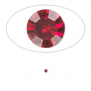 chaton, glass rhinestone, siam, foil back, 1.4-1.5mm faceted round, pp8. sold per pkg of 72.