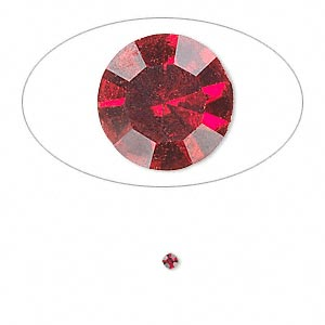chaton, glass rhinestone, siam, foil back, 1.9-2.0mm faceted round, pp13. sold per pkg of 72.