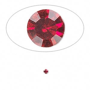 chaton, glass rhinestone, siam, foil back, 2.1-2.2mm faceted round, pp15. sold per pkg of 72.