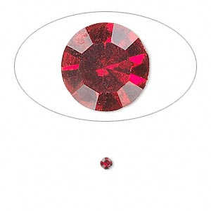 chaton, glass rhinestone, siam, foil back, 2.4-2.5mm faceted round, pp18. sold per pkg of 72.