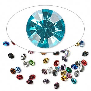 chaton mix, glass rhinestone, mixed colors, foil back, 1.6-1.7mm faceted round, pp10. sold per pkg of 72.