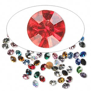 chaton mix, glass rhinestone, mixed colors, foil back, 1.7-1.8mm faceted round, pp11. sold per pkg of 72.