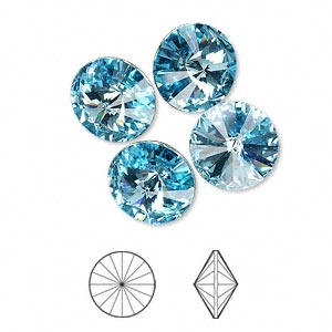 chaton, swarovski crystal rhinestone, crystal passions, aquamarine, foil back, 12mm faceted rivoli (1122). sold per pkg of 4.