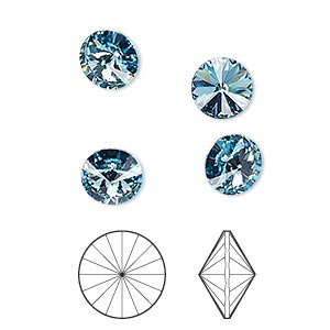 chaton, swarovski crystal rhinestone, crystal passions, aquamarine, foil back, 8.16-8.41mm faceted rivoli (1122), ss39. sold per pkg of 4.