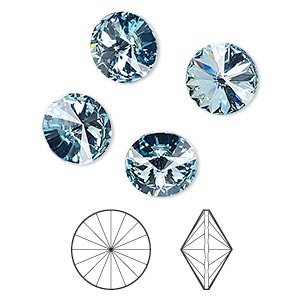 chaton, swarovski crystal rhinestone, crystal passions, aquamarine, foil back, 10.54-10.91mm faceted rivoli (1122), ss47. sold per pkg of 4.