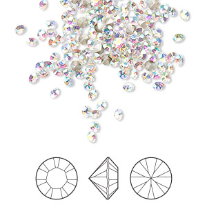chaton, swarovski crystal rhinestone, crystal passions, crystal ab, foil back, 2.4-2.5mm xilion round (1028), pp18. sold per pkg of 144 (1 gross).