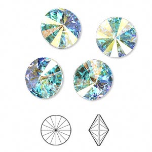 chaton, swarovski crystal rhinestone, crystal passions, crystal ab, foil back, 12mm faceted rivoli (1122). sold per pkg of 4.