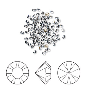 chaton, swarovski crystal rhinestone, crystal passions, crystal blue shade, foil back, 1.9-2mm xilion round (1028), pp13. sold per pkg of 144 (1 gross).