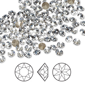 chaton, swarovski crystal rhinestone, crystal passions, crystal blue shade, foil back, 3.8-4mm xirius round (1088), pp31. sold per pkg of 12.