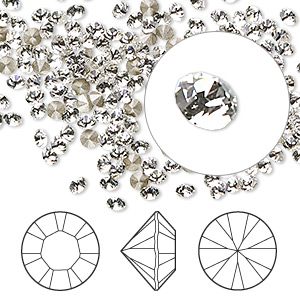 chaton, swarovski crystal rhinestone, crystal passions, crystal clear, foil back, 2.8-2.9mm xilion round (1028), pp22. sold per pkg of 144 (1 gross).