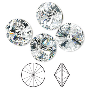 chaton, swarovski crystal rhinestone, crystal passions, crystal clear, foil back, 14mm faceted rivoli (1122). sold per pkg of 48.