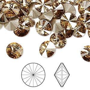 chaton, swarovski crystal rhinestone, crystal passions, crystal golden shadow, foil back, 8.16-8.41mm faceted rivoli (1122), ss39. sold per pkg of 48.