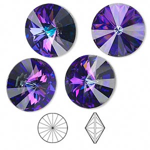 chaton, swarovski crystal rhinestone, crystal passions, crystal heliotrope, foil back, 16mm faceted rivoli (1122). sold per pkg of 4.