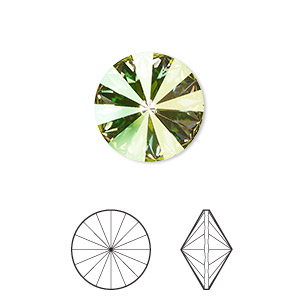 chaton, swarovski crystal rhinestone, crystal passions, crystal luminous green, foil back, 14mm faceted rivoli (1122). sold per pkg of 4.