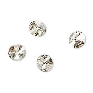 chaton, swarovski crystal rhinestone, crystal passions, crystal silver shade, foil back, 8.16-8.41mm faceted rivoli (1122), ss39. sold per pkg of 4.