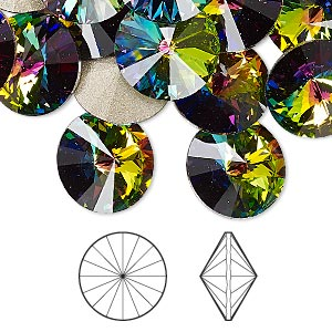 chaton, swarovski crystal rhinestone, crystal passions, crystal vitrail medium, foil back, 14mm faceted rivoli (1122). sold per pkg of 4.